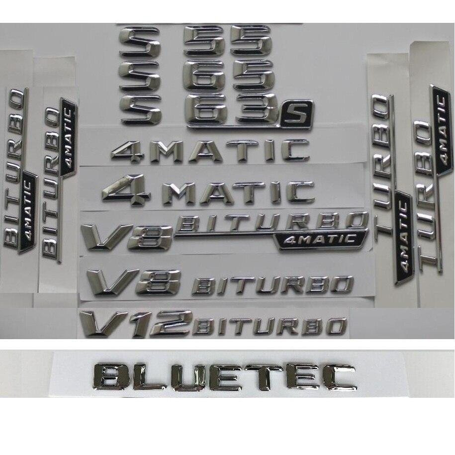 Chrome S65L AMG V12 BITURBO Trunk Fender Badges Emblems for Mercedes Benz