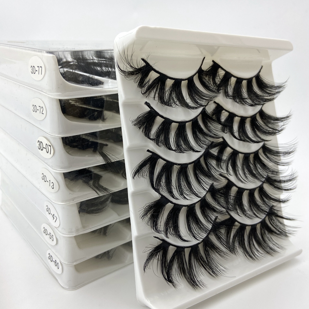 Buzzme 100% 3D handmade natural thick Eye lashes wispy makeup extention tools 3D faux mink hair volume soft false eyelashes