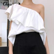 Elegant OL Shirts Women Fashion Ruffles Blouses Celmia Summer 2020 Sexy One Shoulder Sleeveless Casual Party Tops Feminians 5XL