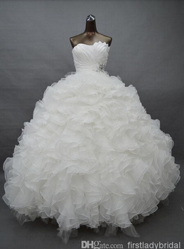 Real Samples White Quinceanera wedding vestido para debutante de 15 anos Sweetheart Ruffled Organza Prom Gowns bridesmaid dress