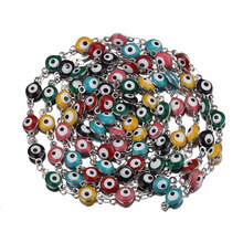 100cm Colorful Eye Beade Chain Necklace Copper Metal Cable Enamel Chain for DIY Handmade Jewelry Making Components Crafts