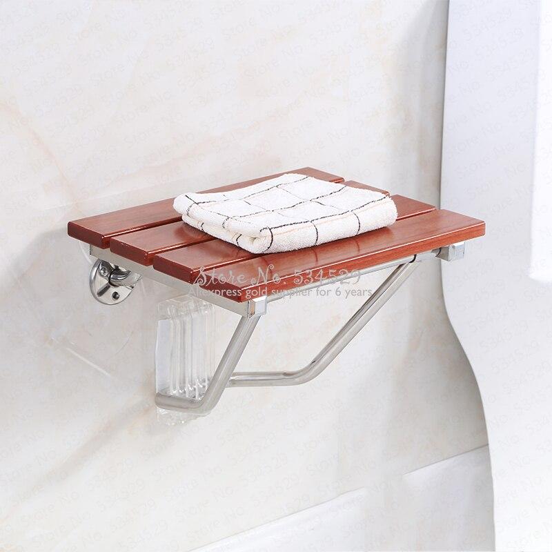 30% Solid Wood Bath Stool Folding Stool Seat Bathroom Wall Seat Stool Non-slip Shower Wall Chair Living Room Wall Hanging