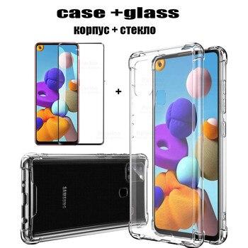 Cristal templado + funda para Samsung Galaxy A21s, protector de pantalla para Samsung Galaxy A21s Galaxy A21s A 21 S 21 S M-A217F, funda transparente para Sklo