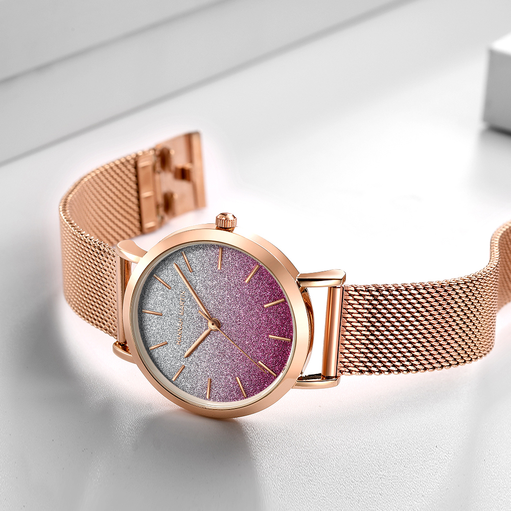 HM Stainless Steel Mesh Wristwatches Top Brand Luxury Japan Quartz Movement Rose Gold Designer Elegant Style Watches For Women