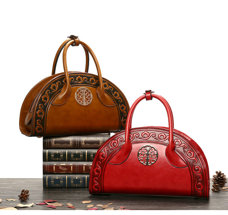 Women Leather National Retro Handbag Folk Elegant Shell Shape Top Handle Lady Bag
