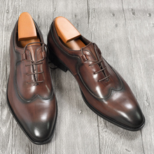 Mens Oxford Dress Leather Shoes Coffee Color Italian Style Novelty Office Formal Casual Cap Toe Shoe Special Lace Up