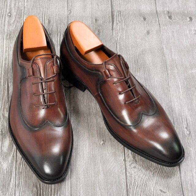 Mens Oxford elbise deri ayakkabı kahve rengi İtalyan tarzı yenilik ofis resmi rahat kap ayak ayakkabı özel dantel Up
