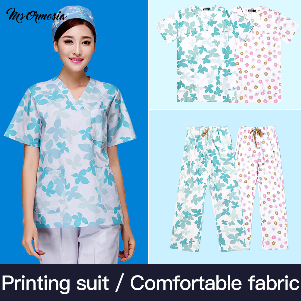 MSORMOSIA Hospital Doctor Surgery Uniforms Summer V-Neck Hospital Beauty Scrubs Medical Uniform Women Sets Surgical Gowns New