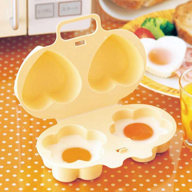 Lò Vi Sóng Hấp Trứng Tiện Dụng 2 Mặt Hoa Tình Yêu Hấp Trứng Gà Mãng Cầu Khuôn Phụ Kiện Nhà Bếp