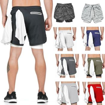 Mens 2 In 1 Workout Running Shorts Gym Yoga Sport Compression Tights with Pocket 23GE