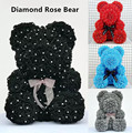 Diamond rose bear with heart artificial roses foam roses flower Diamonds bear rose Valentine's Day gifts Mother's Day