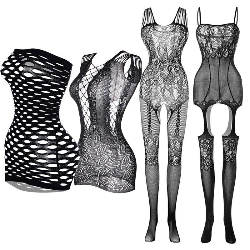 Women Open Crotch Tights Sexy Lingerie Erotic Fishnet Pantyhose Plus Size Nylon Stockings Transparent Mini Dress Porno