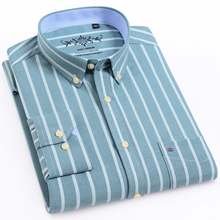 Camisa Casual de trabajo para hombre, camisa a cuadros a rayas Oxford, con bolsillo tipo parche, de manga larga, de cuadros gruesos