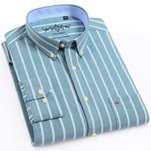 Männer der Arbeit Casual Regelmäßige fit Oxford Striped Plaid Checkered Shirts Einzelnen Patch Tasche Lange Sleeve Dicken Gingham tops Shirt