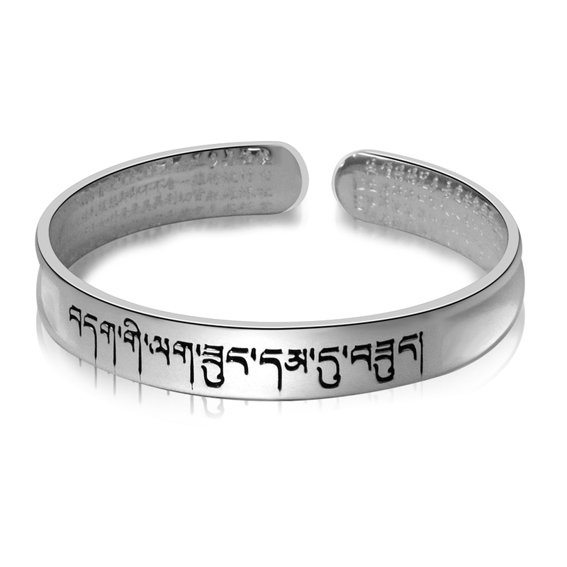 BALMORA 990 Pure Silver Buddhistic Heart Sutra Bangles for Women Men Gift about 18cm Bracelet Religious Jewelry Pulsera