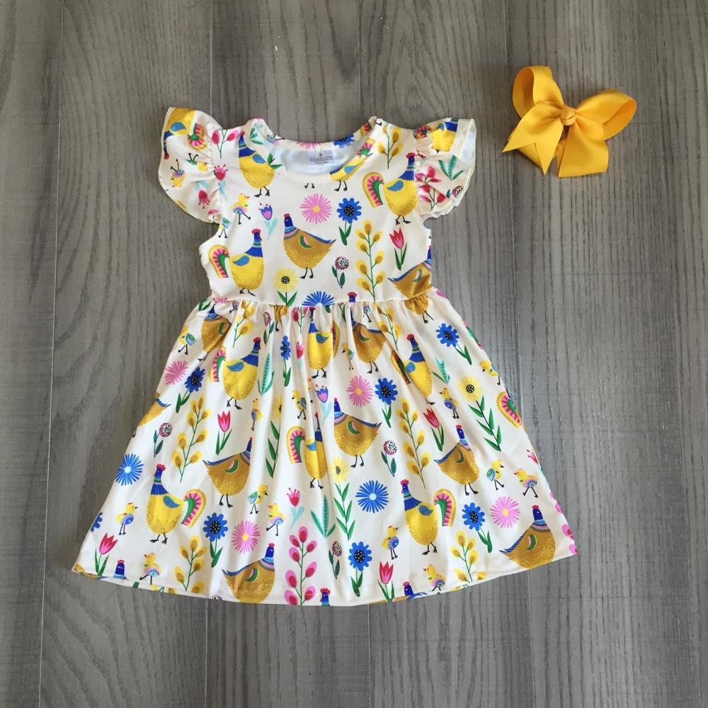 Exclusive summer baby girls children clothes boutique leopard flower farm dinosaur cotton milk silk knee length dress match bow 4