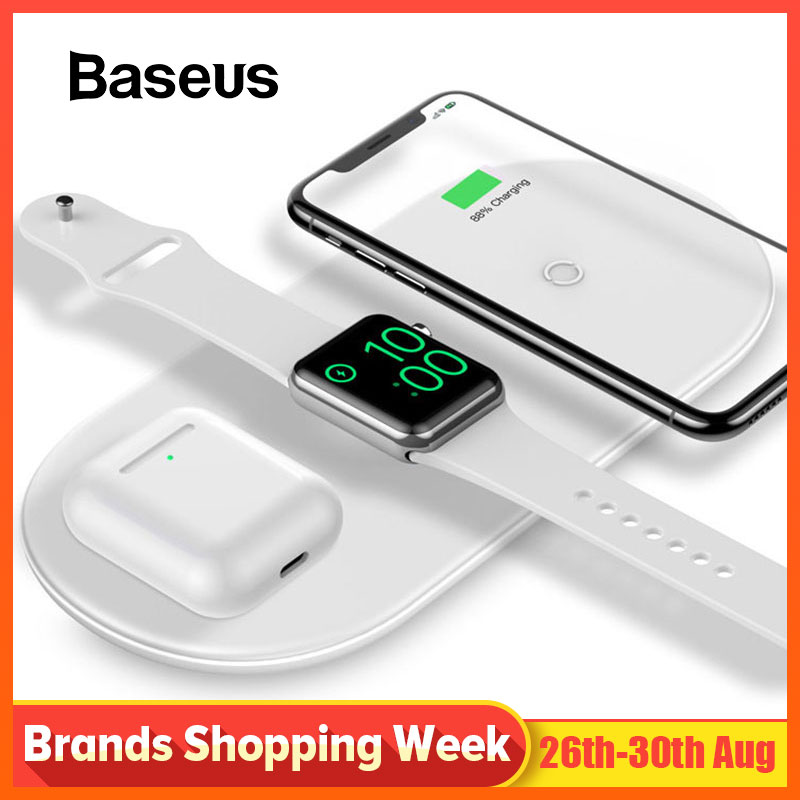 Baseus Wireless-Charger Charging-Pad Watch Apple iPhone 4/3/2/1-airpods 3-In-1 for 8/Xs-max/Xr