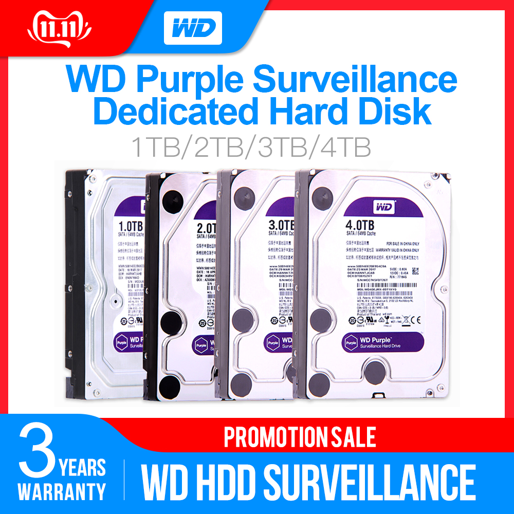 Western Digital WD Purple Surveillance <font><b>HDD</b></font> 1TB <font><b>2TB</b></font> 3TB 4TB SATA 6.0Gb/s 3.5