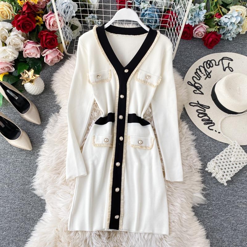 Women's Knit Dress Autumn Winter New Korean Temperament V-neck Long-sleeved Slim Hip Knit Dress Bottoming Sweater Dress ML488 7