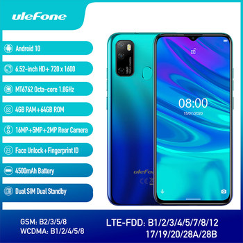 Ulefone Note 9P 6.52''HD+ Android 10 4GB 64GB 16MP Smartphone MT6762V Waterdrop Screen Octa Core 5V/2A 4G 4500mAh Mobile Phone 2