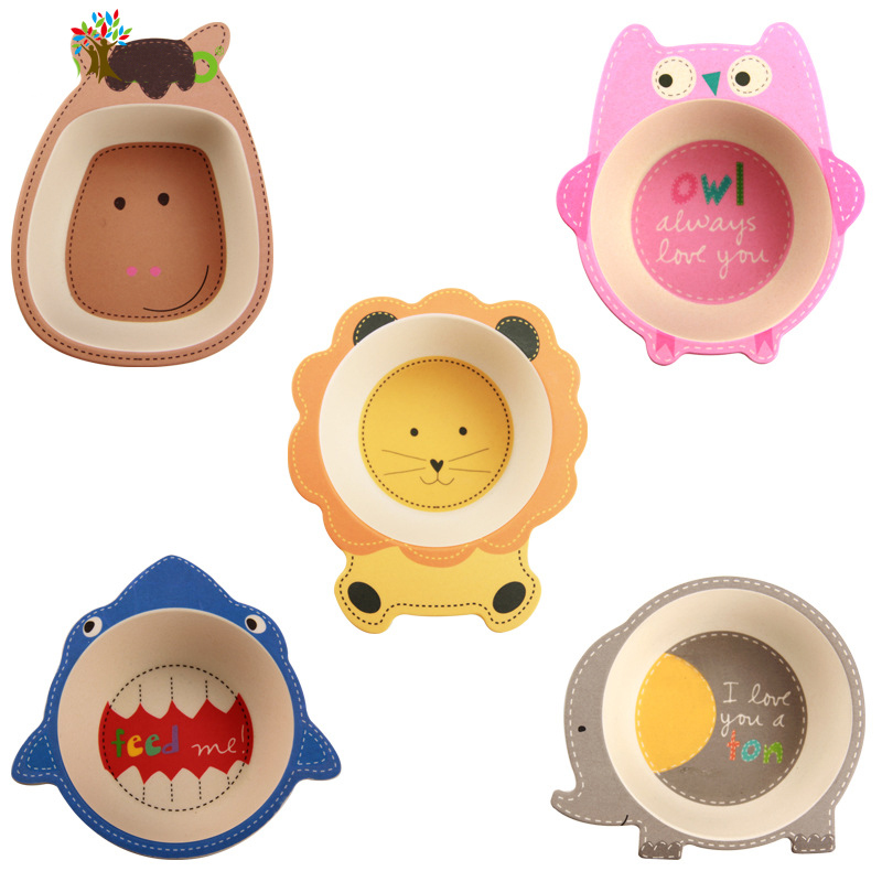 Cute Cartoon Bamboo Baby Dishes Bowl Food Plates Feeder Food Container Tableware For Children Creative Gift For Infant