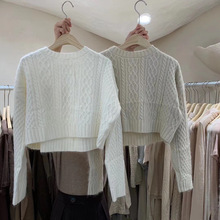 Autumn And Winter New All-Match Short Hooded Outer Wear Twist Round Neck Long Sleeve Sweater Women