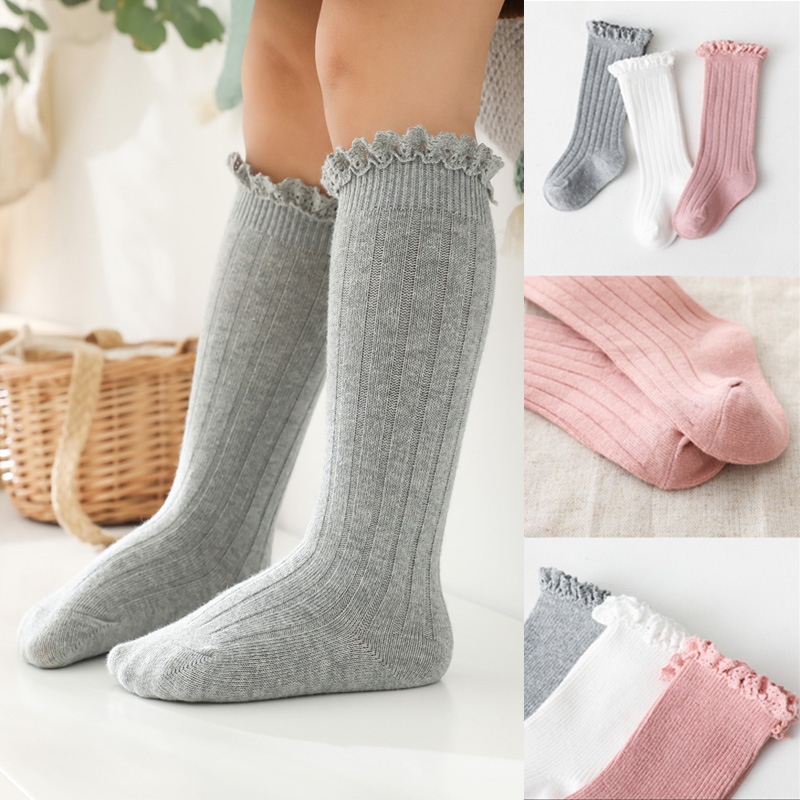 Носочки для девочки, для детей, для малышей с оборками, длинных нoсoк с мягкий хлопковый носок кружевное платье с цветочным рисунком для дете...