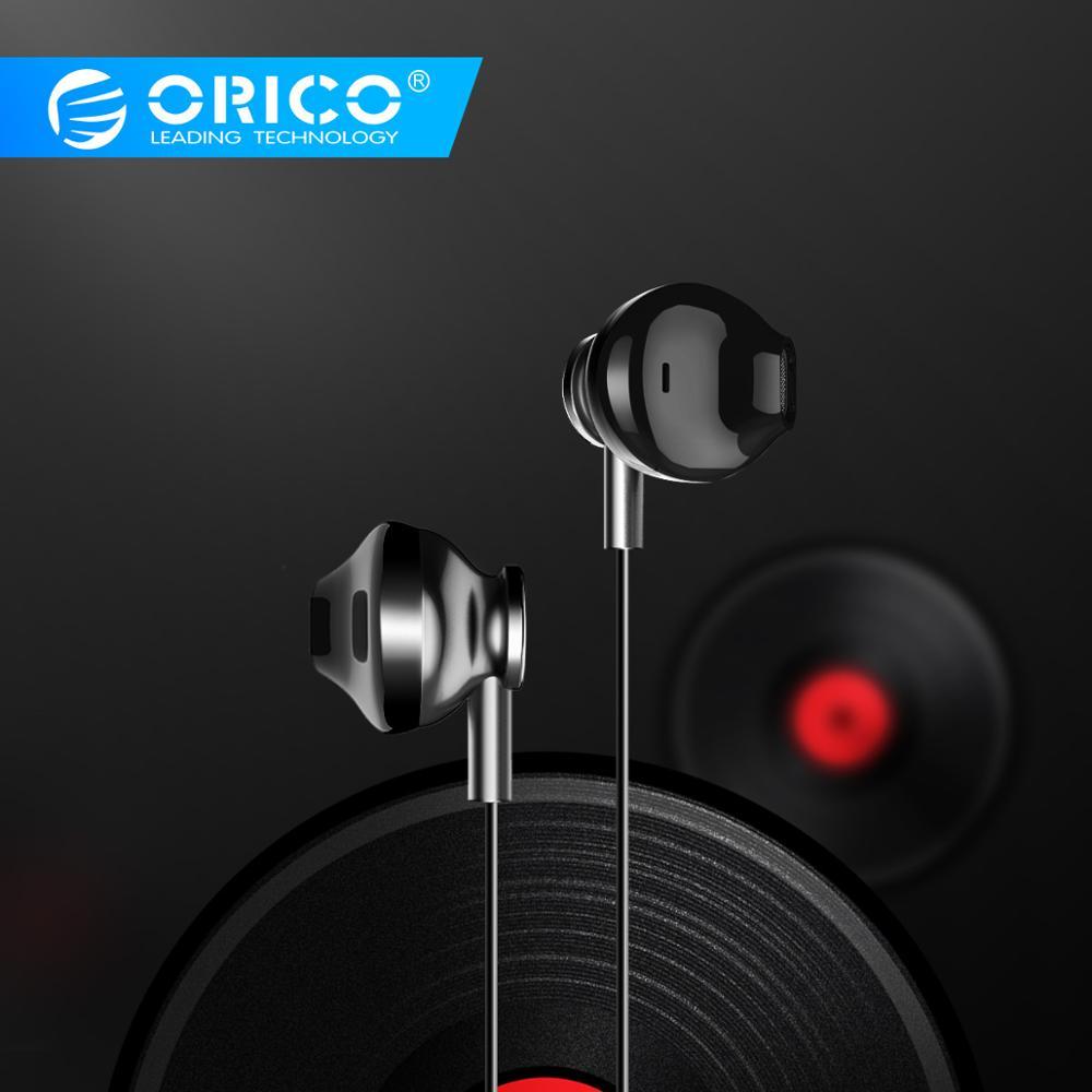 Auriculares ORICO con cable Auriculares deportivos estéreo aislantes de ruido Auriculares deportivos Hifi con micrófono para Samsung Xiaomi