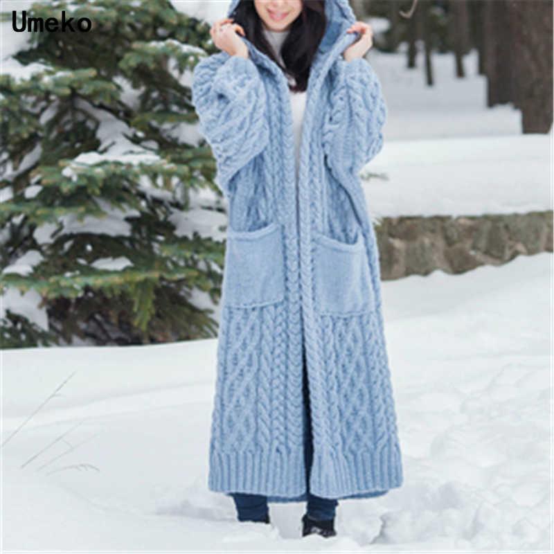 Umeko Women Knitted Cardigan Winter Thick Warm Hooded Long Cardigan Female Long Sleeve Vintage Sweater Outwear Plus Size Coats