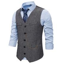 Suit Vest Tuxedo Chain Dress Waistcoat Men Gentleman Woolen Single-Breasted Gray Herringbone