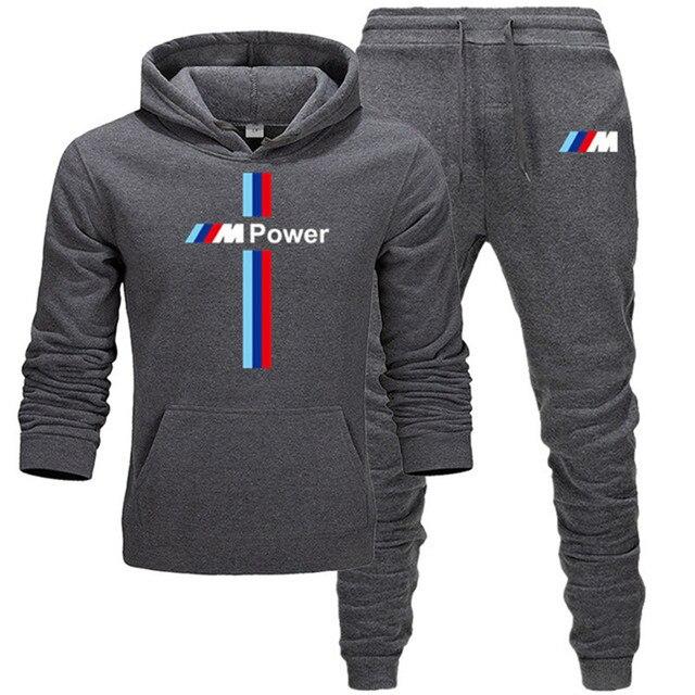 New BMW M Power Hoodie Set Sportswear Sweatshirt Set Fleece Hoodie + Sweatpants Jogging Men's Pullover 3XL Sports Set 3