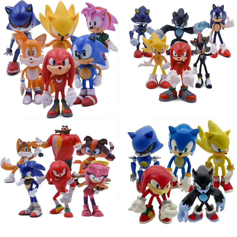 6-12CM Styles Sonic Figures Toys Shadow Tails Cream Rouge Knuckles Amy Rose For Children Animals PVC Toys Doll Set Free Shipping