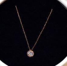 14K Rose Gold Necklace with Zircon Gemstone Pendant for Women Fine Anillos De Bizuteria Naszyjnik Bijoux Femme Collares Pendants