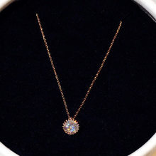 Collier en or Rose 14K avec pendentif en Zircon pour Femme, Bijoux fins