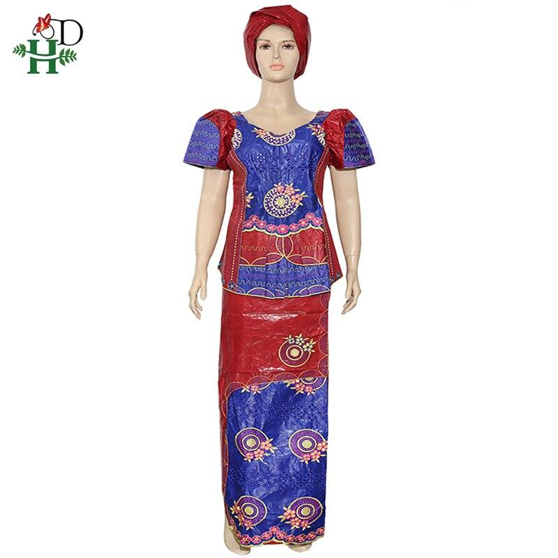 H&D Dashiki Bazin Skirt Suit Women Ankara Clothes African Ladies Shirt Skirt Sets Short Sleeve T Shirt Beading Embroidery Tops