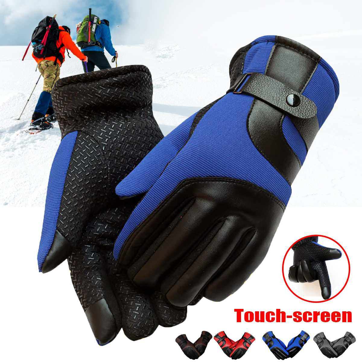 Men Women Ski Gloves Leather Winter Thermal Warmer Touchscreen Glove Camouflage Windproof Waterproof Cycling Motorcycle Gloves