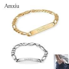 Amxiu pulsera personalizada de plata 925 con grabado de nombre, joyería personalizada, brazalete de identificación, accesorios para hombre y mujer
