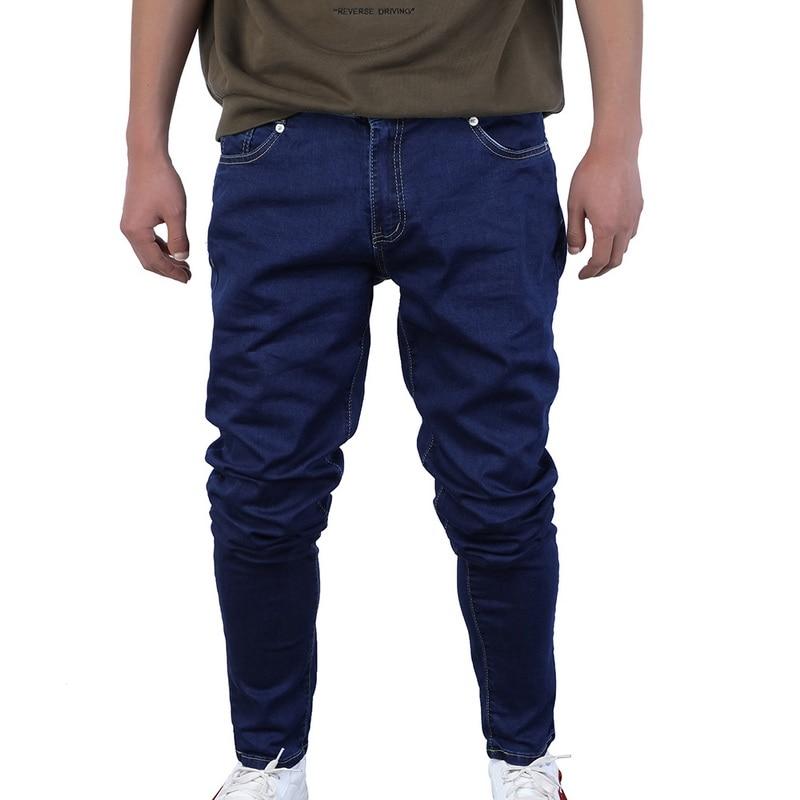 CYSINCOS Skinny   Jeans   Men Drawstring Slim Denim Joggers Stretch Male   Jean   Pencil Pants Blue Men's   Jeans   Fashion Casual Hombre