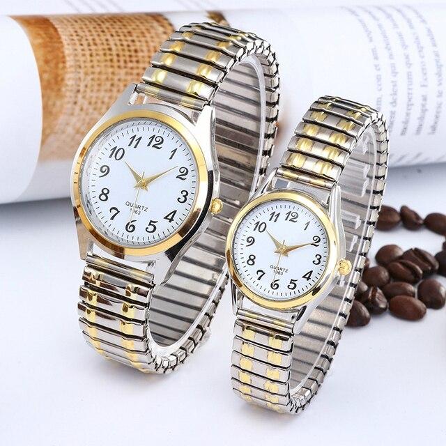 1PCs Fashion Vintage Business Women Men Elastic Gold Sliver Quartz Watch Tide Lovers Couple Party Office Gifts Bracelet Watches 1
