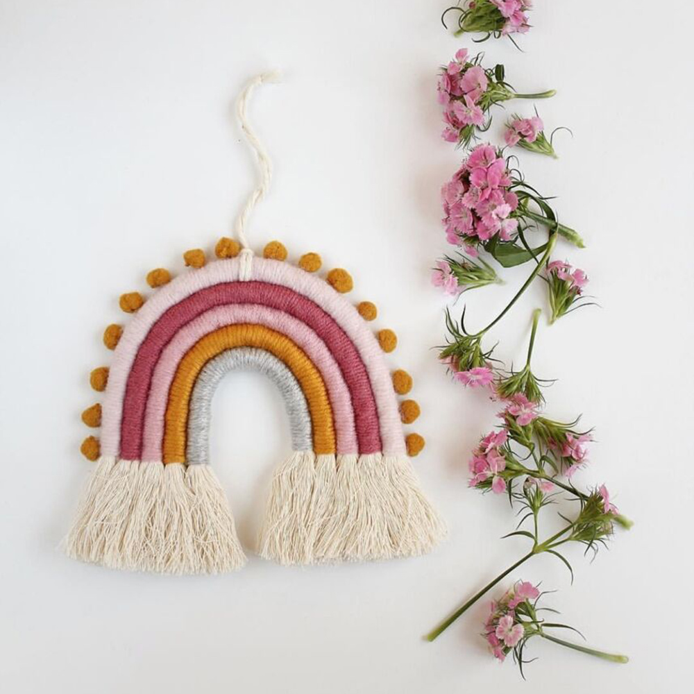 Handmade DIY Rope Rainbow Hanging Weaving Ornament Nordic Baby Kids Room Wall Decor Nursery Hanging Home Decoration Accessories