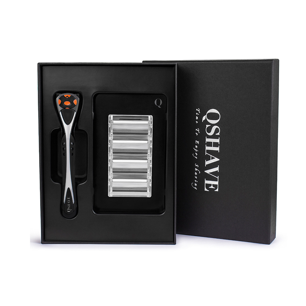 Qshave Black Spider Man Manual Shaving Razor With Beautiful Present Box Can Design Your Name On Handle(1pc Handle, 4pc X6 Blade)