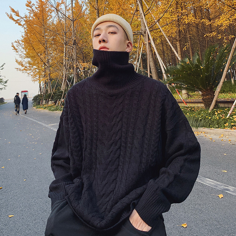 Winter Men's Solid Color Coats In Warm Cashmere Woolen Sweaters Casual Turtleneck Brand Male Pullover Tide Student Knitting