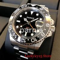 PARNIS Automatic Men Watch 40mm Sapphire Glass Date Function Rotating Bezel Orange Hand Mental Strap
