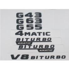 For Mercedes Benz Black W463 G43 G63 G55 G65 G63s AMG Emblem V8 BITURBO 4MATIC 4MATIC+ Emblems Badges 2pcs for mercedes benz g63 amg performance edition side sports stripe w463 g65 skirt vinyl decals sticker black 5d carbon