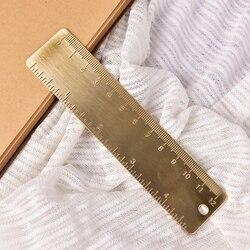 12 cm Mini marcapáginas regla de doble escala de latón creativo Retro marcapáginas papelería suministros
