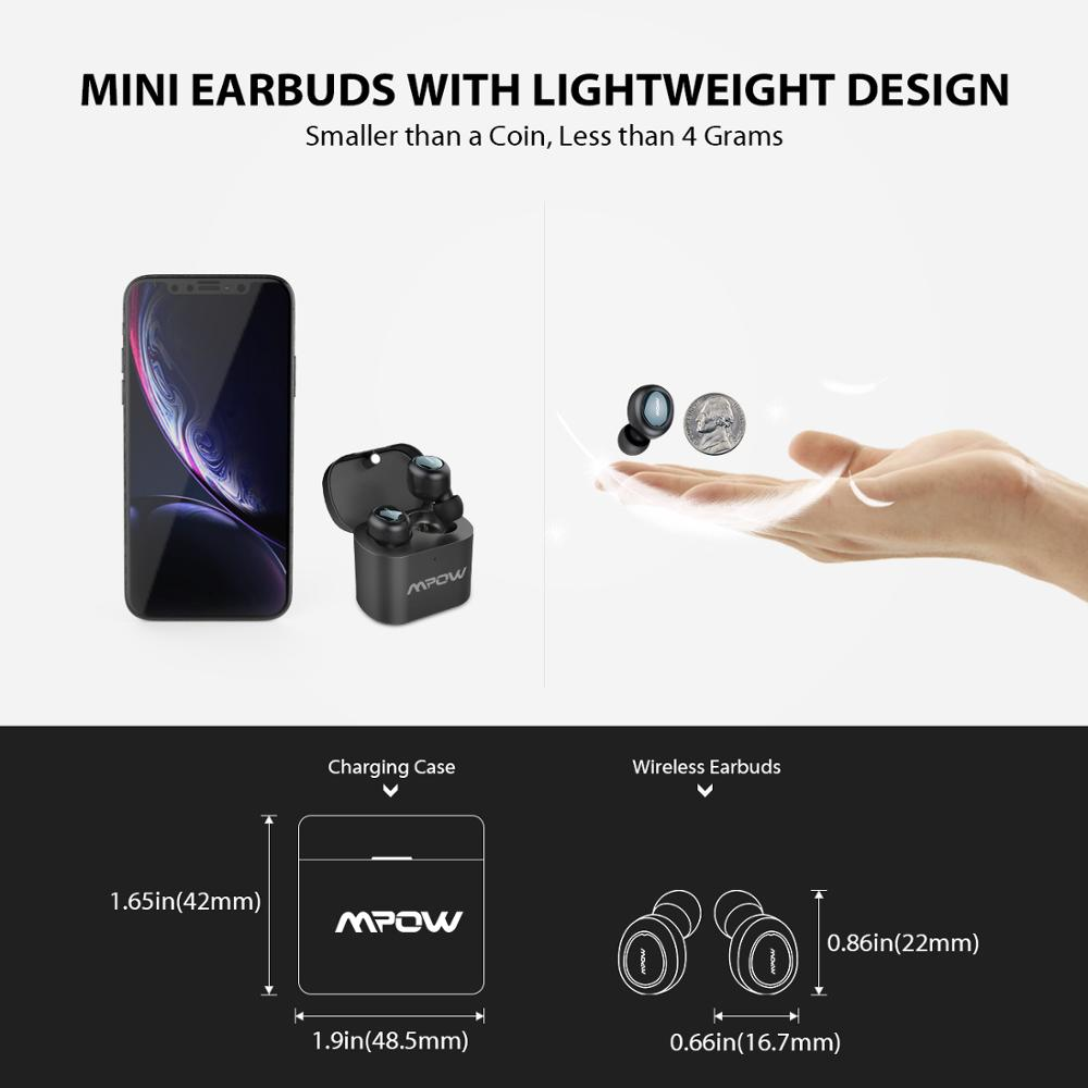 Image 3 - Mpow T2 Wireless Earbuds Bluetooth 5.0 In ear Stereo TWS Earphones Mini Portable Earpieces With Built in Mic For iPhone AndroidBluetooth Earphones & Headphones   -
