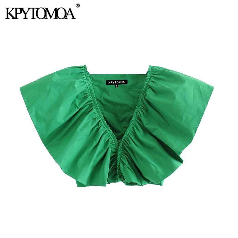 KPYTOMOA Women 2020 Fashion Ruffled Cropped Blouses Vintage V Neck Sleeveless Female Shirts Blusas Chic Tops