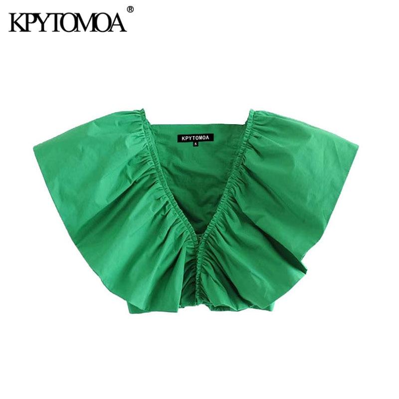 KPYTOMOA Women 2020 Fashion Ruffled Cropped Blouses Vintage V Neck Sleeveless Female Shirts Blusas Chic Tops