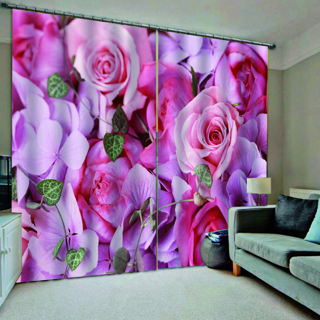 Window Treatments 3D Curtains For Living Room Bedroom Colorful Rose Printing Drapes Cortinas For Window