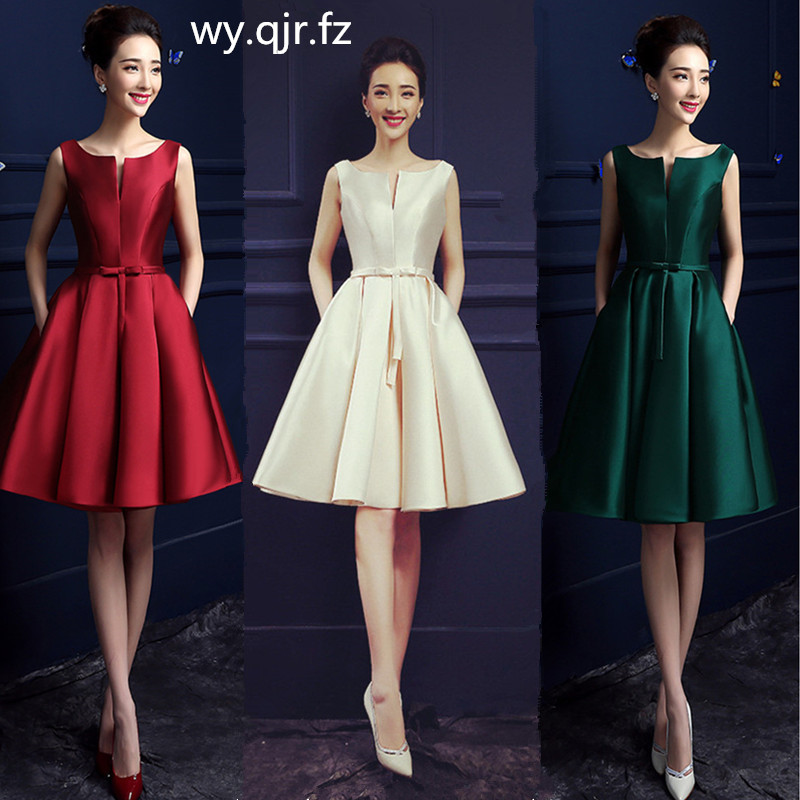 HJZY-69B#Short Bridesmaid Dresses White Red Lace Up Champagne Wedding Cocktail Party Prom Dress Wholesale Girls Graduation